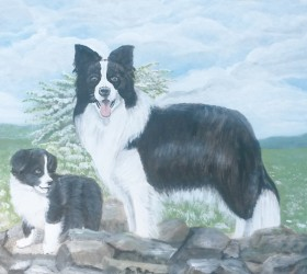 fresque bois : le border collie